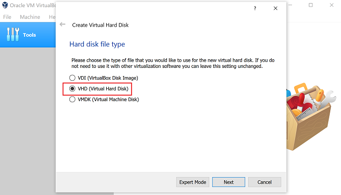 select virtual hard disk type